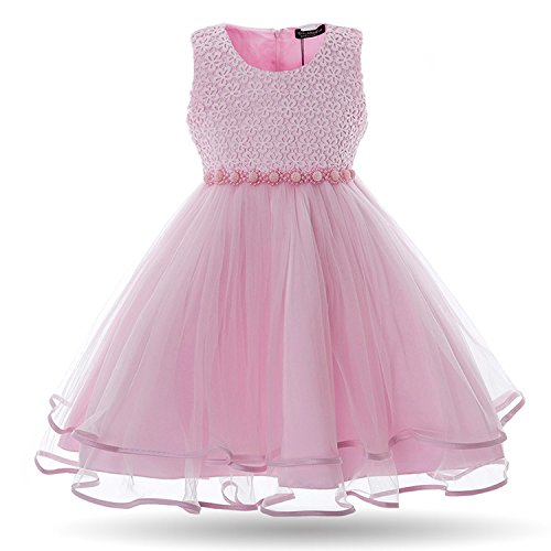 The Fairy Girls Dress Mesh Pearls Children Wedding Party Dresses Kids Evening Ball Gowns Formal Baby Frocks Clothes for Girl,Pink,4T ()