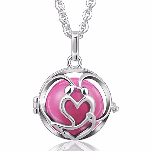 EUDORA [in Love] Harmony Bola Angel Chime Caller 20mm Mexican Ball Pregnancy Prayer 30'' Necklace Pink