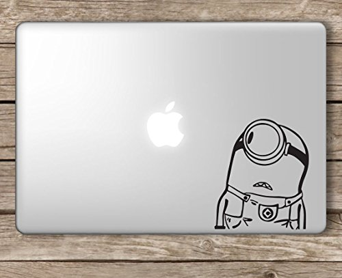 Minion Looking at Apple Despicable Me - Apple MacBook Laptop Vinyl Sticker Decal, Die Cut Vinyl Decal for Windows, Cars, Trucks, Tool Boxes, laptops, MacBook - virtually Any Hard, Smooth Surface