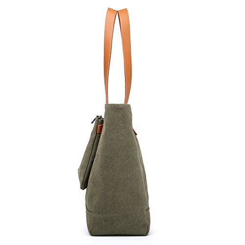Shoulder Clutch Bag Removable Totes Womens Green Capacity with Hobo One Handbag Handles Sap Canvas iDamtok Large Top Bag gBxEA6cwq