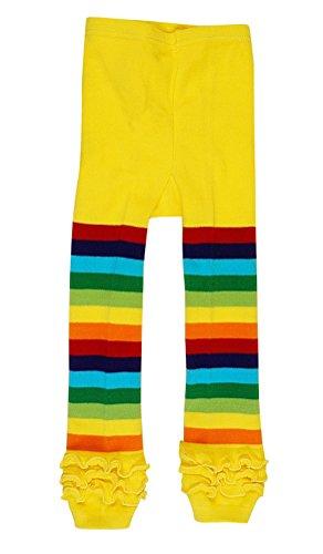 Baby Girls Rainbow Ruffle Toddler Knit Leggings Yellow,3-4 Years