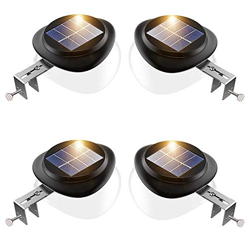 (Outdoor Solar Fence Light Solar Powered Gutter Lights Waterproof LED Wall Security Lamps for Deck Railing Roof Eaves Stairs Corridor - Warm White, Pack of 4)