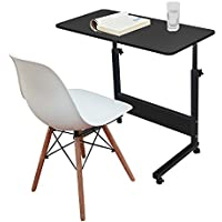 Jerry & Maggie - Adjustable Height Desk Laptop Desk Office Home Movable Table Bedside Lapdesk With 4 Wheels Flexible Wooden Stand Desk Cart Tray Side Table - Jet Black