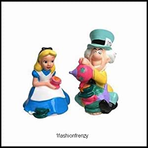 Disney Mad Hatter & Alice in Wonderland Salt & Pepper Shakers Ceramic S&P Set