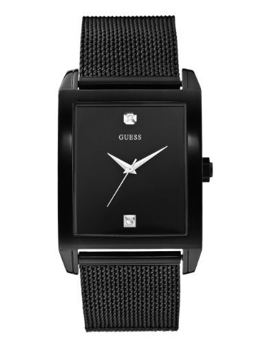 GUESS Men's Stainless Steel Diamond Dial Watch, Color: Black (Model: U0298G1) - Guess Gc Men Watch