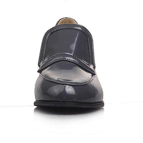 Tacones Balamasa Para Mujer Cuadrados Con Punta Redonda Zapatos De Oxford Con Patente De Charol Gris
