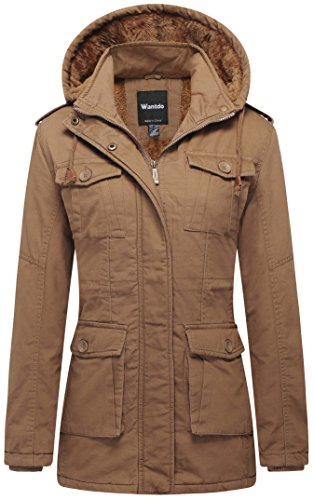 Wantdo Women's Warm Sherpa Lined Windproof Jacket with Removable Hood (Khaki,L) ()