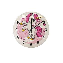 ZHONGJI Wooden Wall Clock Round Silent Non Ticking Battery Drive Home Decor Accessories Vintage Style Office Bedroom Cute Cartoon Unicorn Wooden Clock