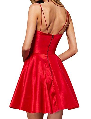 Asbridal Vestito Ritorno Raso Abiti Rosso Da Casa Breve Del Cinghia V Promenade A Collo Di Backless 00Trw