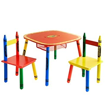 Crayola Kids Table u0026 Chairs 3PC Colourful Childrenu0027s Furniture SeT  sc 1 st  Amazon UK : crayola table and chairs set - Pezcame.Com