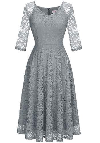 Dressystar Long-Sleeve A-Line Lace Bridesmaid Dress Midi for Wedding Formal Party XL Grey
