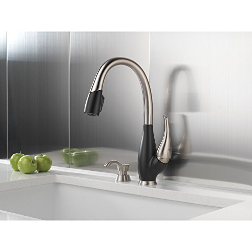 9158 Sb (Delta Fuse Collection Stainless Steel and Black Finish Single Handle Pull Down Kitchen Sink Faucet and Deck Mounted Soap Dispenser Package)