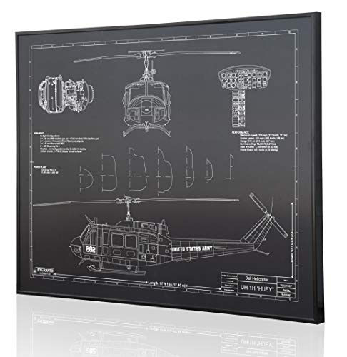 Used, Bell UH-1H Huey Blueprint Artwork-Laser Marked & Personalized-The for sale  Delivered anywhere in USA