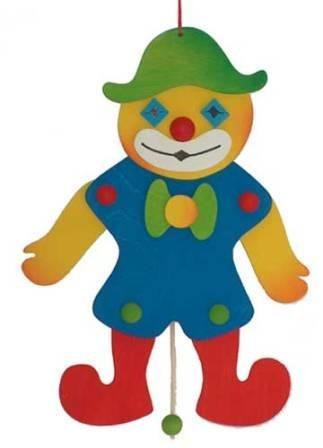 Hampelmann Clown aus bemaltem Holz 30cm x 15cm Schaukelpferdchens Holzspielzeug