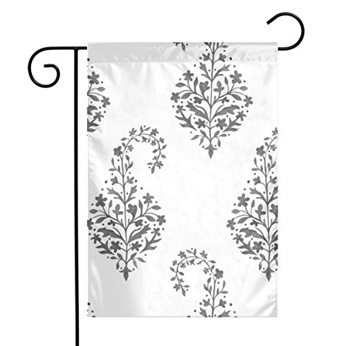 - Room101 Garden Flag Spring Garden Flag Spring Painted_Paisley_in Charcoal_1153Colourful 12 x 18 Inch Flower Yard Decor