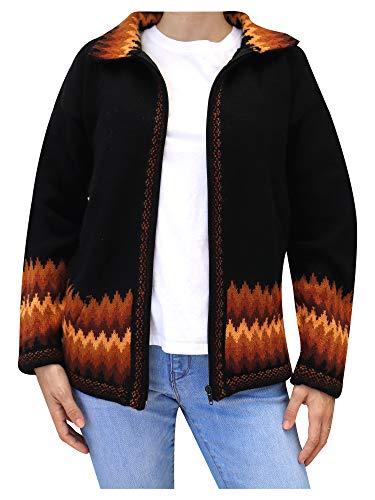 Raymis Peruvian Women´s Sunshine Hand Knit Alpaca Zip Front Cardigan Jacket (Black, Large)