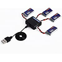 Kocome 4x 3.7V 380mAh Battery +5in1 Charger Set For Syma X5SC X5SW RC Drone Quadcopter