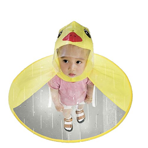 (Children Rain Ponchos, UFO Yellow Duck Raincoat Umbrella Rain Hat Cape Foldable Headwear for Kids Boys Girls (Yellow, S))