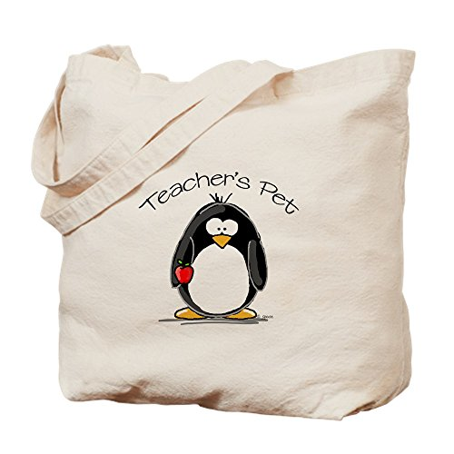CafePress Teachers Pet Penguin Natural Canvas Tote Bag, Reusable Shopping Bag