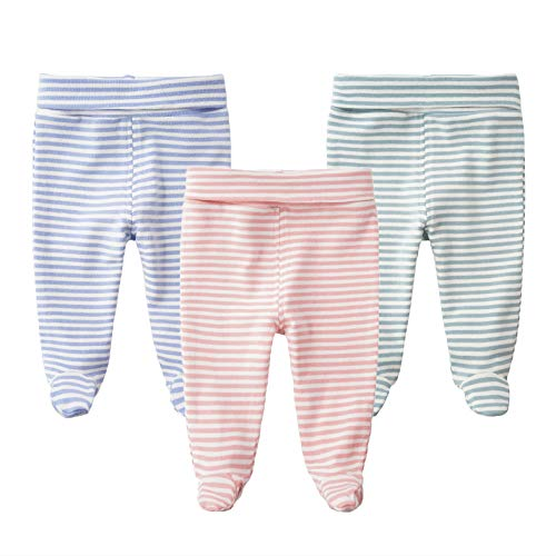 SYCLZ Baby Cotton High Waist Footed Pants Casual Leggings 0-12M (6-12M, C) ()