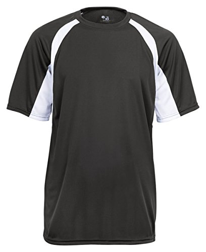 Men's two-tone moisture-wicking cool and dry sport hook tee. (Graphite / White) (X-Large) ()