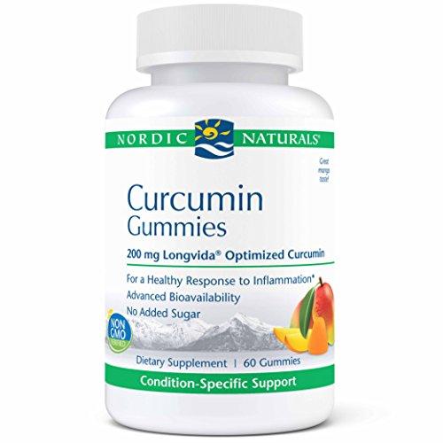 Nordic Naturals Pro Curcumin Gummies - 200mg Longvida Optimized Curcumin, Support for a Healthy Nervous System & Inflammation Response, Cardiovascular, Joint & Immune Health, Mango Flavor, 60 Gummies