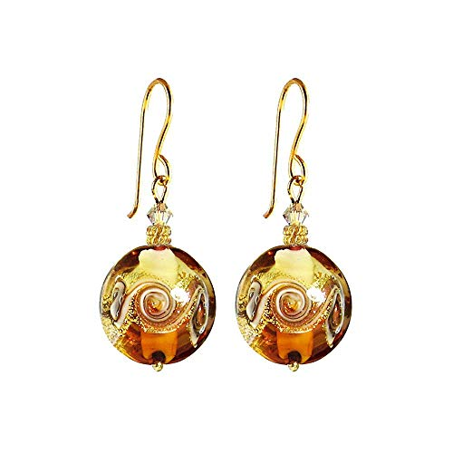 - Murano Glass Earrings by I Love Murano 'Venetian Wave' in Amber and Gold