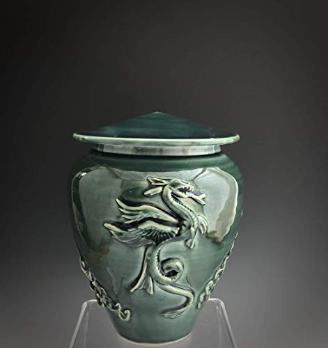 Mid Size Handmade Ceramic Cremation Dragon Urn with Deep Sea Glaze, Grief and Mourning, SacredUrnsEtc, Susan Fontaine Pottery - Glaze Ceramic Urn