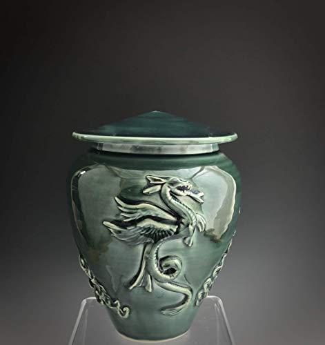 Mid Size Handmade Ceramic Cremation Dragon Urn with Deep Sea Glaze, Grief and Mourning, SacredUrnsEtc, Susan Fontaine Pottery (Glaze Urn)