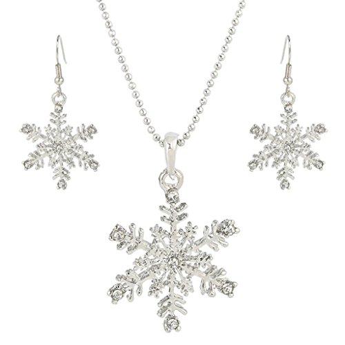 EVER FAITH Silver-Tone Austrian Crystal Snowflake Pendant Necklace Earrings Set Clear (Crystal Snowflake Pendant Necklace)