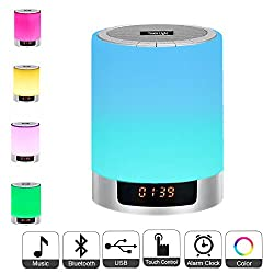 Night Lights Bluetooth Speaker,Bedside Lamp Touch Control Alarm Clock Color LED Color Changing Wireless Speaker with Lights USB AUX MP3 Music Player for Kids,Party,Bedroom,Outdoor
