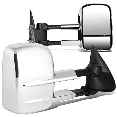 (Chrome Pair Telescopic Extended Arm Rear View Manual Towing Side Mirror for Chevy Silverado GMC Sierra 99-06)