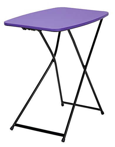 "COSCO 18"" x 26"" Indoor Outdoor Adjustable Height Personal Folding Tailgate Table, Purple, 2-pack"
