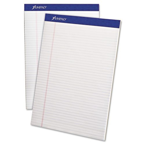 Ampad Writing Pad, Narrow Rule, Letter, White, Micro Perfed, 50-Sheets, Dozen by Ampad by Ampad
