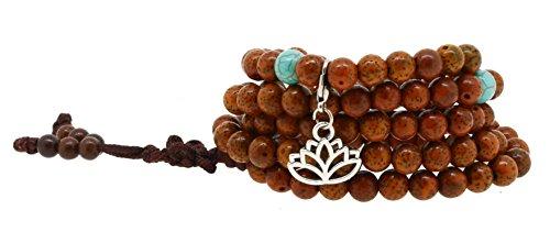 Necklace Flower Bead (Hinky Imports Unisex Yoga Meditation 108 Tibetan Bodhi Prayer Beads Daemonorops Seeds Mala Wrap Bracelet Necklace (Lotus Flower))