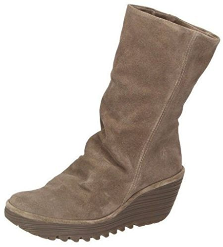 Fly London Yara Taupe Wildleder Damen Mid Calf Wedge Stiefel