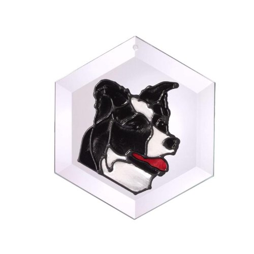 Border Collie Painted/Stained Glass Suncatcher (Ew-180)