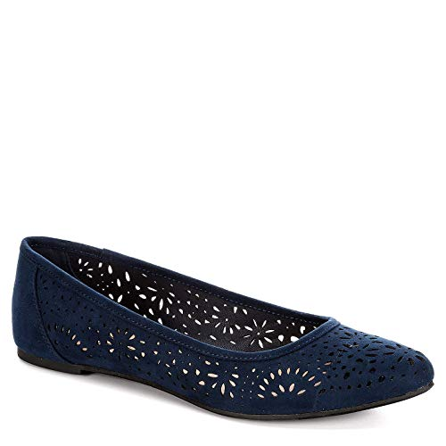 XAPPEAL Womens Adilene Perforated Slip On Flat Shoes, Navy, US 7.5