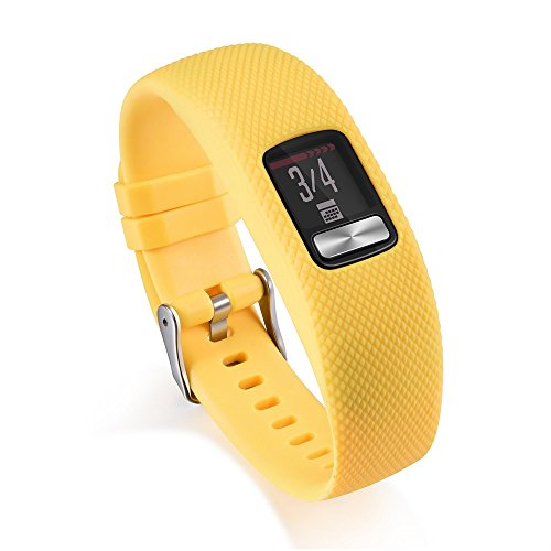 (Clearance Sale!DEESEE(TM)Silicone Replacement Wrist Band Strap with Metal Buckle for Garmin vivofit 4 (Yellow))
