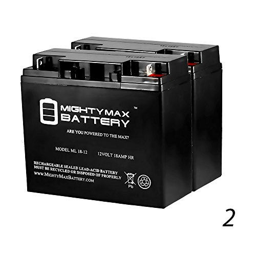 ML18-12 - 12V 18AH Battery Repl. for APC SU1400BX120 SU1400X145 SU1400X93 SU1400X106 - 2 Pack - Mighty Max Battery brand product by Mighty Max Battery