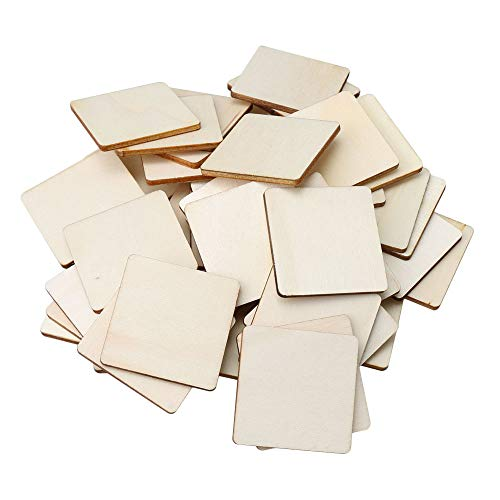 RDEXP Length 1.57inch Width 1.57inch Thickness 3mm Blank Round Corner Square Wooden Pieces Unfinished Unpainted Wood Sheets for Wood DIY Craft Carving Modeling Set of -