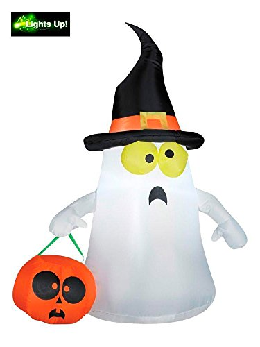 Cute Halloween Decorations (Gemmy Outdoor Ghost with Witch Hat, White, Standard)
