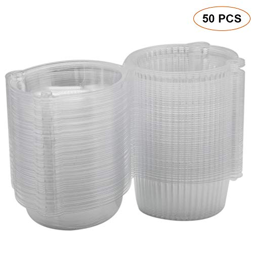 (Aftermarket 50 x Plastic Single Individual Cupcake Muffin Dome Holders Cases Boxes Cups Pods (Set of 50) )