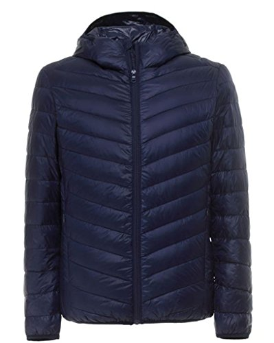 J-SUN-7 Mens Casual Hooded Packable Down Puffer Jacket(Navy,US M/AsianM) (Jacket Size Chart Mens compare prices)