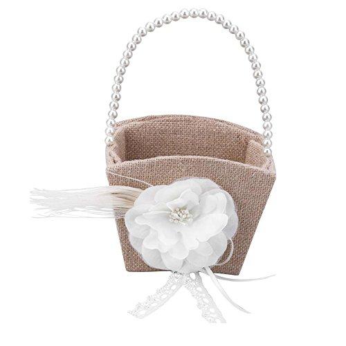 Flower Girl Basket,Awakingdemi Square Pearl Beaded Girls Flower Basket Wedding Party Decoration Supplies