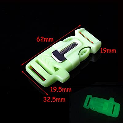 "3/4"" (19mm) Fire Starter Survival Whistle Buckle Flint Scraper For Paracord Bracelet FLC160"