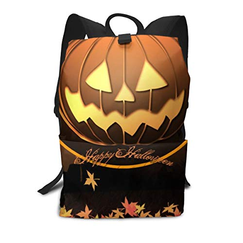 NO4LRM Adult Travel Backpack Happy Halloween Flower Shoulder Bags Large Capacity Full Cover Printed Durable Laptop Backpack -