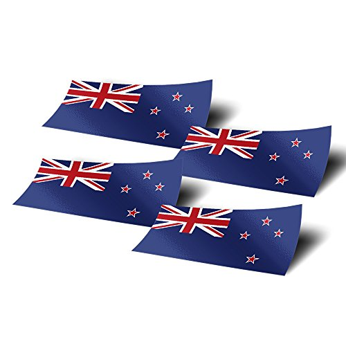 - Desert Cactus New Zealand 4 Pack of 4 Inch Wide Country Flag Stickers Decal for Window Laptop Computer Vinyl Car Bumper Scrapbook NZ 4