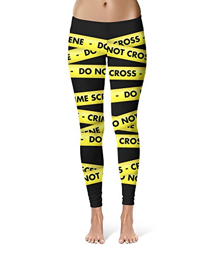 Crime Scene Tape Sport Leggings - Full Length, Mid/High Waist Black]()
