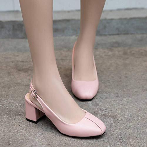 Bride Kaizi Karzi Chaussures Arriere Femmes Talon Rose Confort Épais Mode f7gvYby6